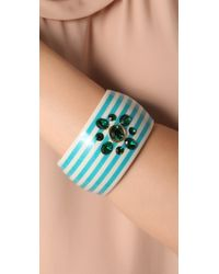Juicy Couture - Blue Large Striped Bangle - Lyst