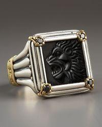 Konstantino | Metallic Black Diamond Paganini Lion Ring | Lyst