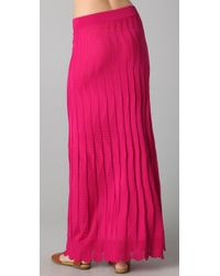 M Missoni | Pink Solid Wave Maxi Skirt | Lyst