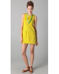 M Missoni | Yellow Sleeveless Pique Shift Dress | Lyst