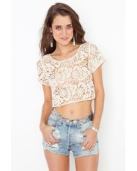 Nasty Gal | Natural Penny Lane Crop Top | Lyst