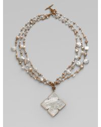 Stephen Dweck | Metallic Three Strand Pearl & Mother-Of-Pearl Pendant Necklace | Lyst