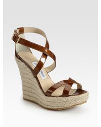 Jimmy Choo | Brown Porto Patent Leather Espadrille Wedge Sandals | Lyst