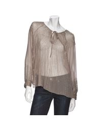 Parker | Brown Sheer Long Sleeve Sequin Top | Lyst