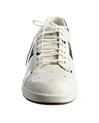 Paul Smith   White Leather Rabbit Stripe Trim Wingtip Sneakers for Men   Lyst