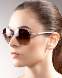 Prada | Metallic Aviator Sunglasses | Lyst