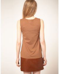 Ted Baker | Brown Sleeveless Leather Panel Dress | Lyst