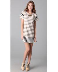 Thread Social - Natural Striped T-shirt Dress - Lyst