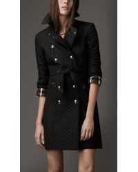 Burberry | Black Quilted Taffeta Trench Coat | Lyst