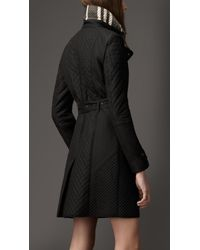 Burberry - Black Quilted Taffeta Trench Coat - Lyst