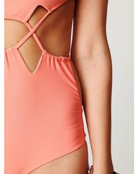 Free People | Pink Cut Out One Piece | Lyst