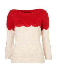 TOPSHOP | Natural Knitted Scallop Block Top | Lyst