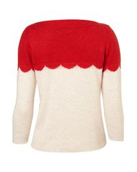 TOPSHOP - Natural Knitted Scallop Block Top - Lyst