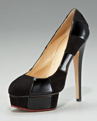 Charlotte Olympia - Black Suede-patent Striped Platform Pump - Lyst