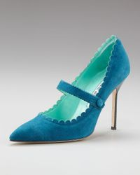 Manolo Blahnik | Blue Scalloped Suede Mary Jane Pump | Lyst