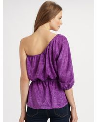 Rebecca Taylor | Purple One-shoulder Python-print Top | Lyst
