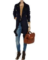 Sunner | Blue Rufflefront Wool Coat | Lyst