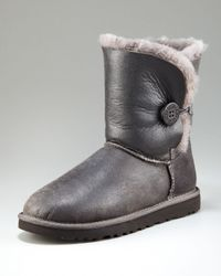 UGG | Gray Bailey Button Bomber Boot | Lyst