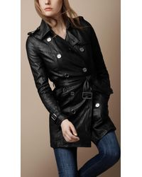 Burberry Brit | Black Soft Leather Trench Coat | Lyst