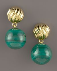 David Yurman - Green DY Elements Drop Earrings - Lyst