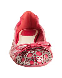 Dior - Pink Fuchsia Cannage Patent Leather Icon Ballerina Flats - Lyst