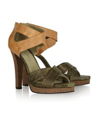 Elizabeth and James | Green Eden Two-Tone Leather Sandals | Lyst