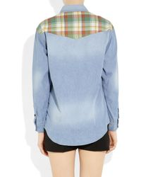 Étoile Isabel Marant | Blue Guan Patchwork Denim and Plaid Shirt | Lyst
