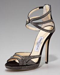 Jimmy Choo - Black Ankle-wrap Shimmer Suede Platform Sandal - Lyst