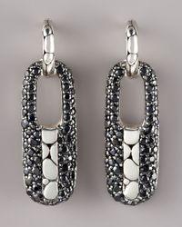 John Hardy - Gray Kali Rectangular Hoop-drop Earrings - Lyst