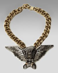 Lanvin - Metallic Wing Pendant Necklace, Short - Lyst