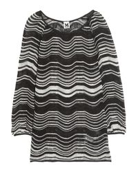 M Missoni | Black Striped Crochet-knit Cotton-blend Top | Lyst