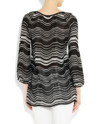 M Missoni - Black Striped Crochet-knit Cotton-blend Top - Lyst
