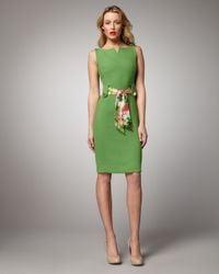 MILLY | Green Kalie Belted Sheath | Lyst