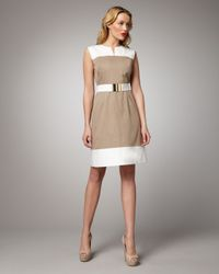MILLY | Natural Nessa Combo Dress | Lyst