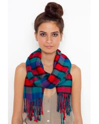 Nasty Gal | Red Plaid Fringed Scarf | Lyst