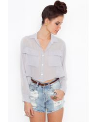Nasty Gal | Metallic Sheer Crop Blouse | Lyst