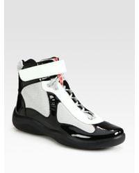 Prada - Black High-Top Patent Sneakers for Men - Lyst