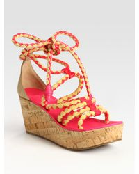 Tory Burch | Pink Petra Patent Leather & Cotton Wedge Sandals | Lyst