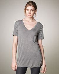 T By Alexander Wang - V-neck Pocket Tee, Heather Gray - Lyst