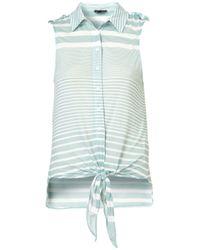 TOPSHOP | Green Stripe Knot Front Shirt | Lyst