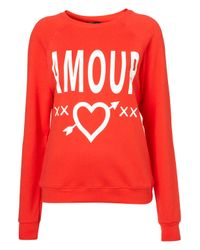 TOPSHOP | Red Amore Sweat | Lyst