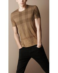 Burberry Brit | Brown Twill Check Jersey T-shirt for Men | Lyst