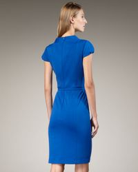 David Meister | Blue Belted Cap-sleeve Dress | Lyst