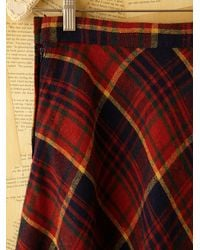 Free People | Red Vintage Plaid Skirt | Lyst