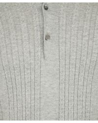 John Smedley - Gray Grey Cable Knit Polo Shirt for Men - Lyst