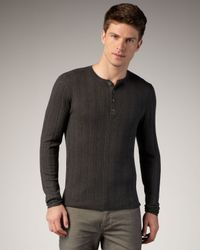 John Varvatos | Gray Ribbed Henley for Men | Lyst