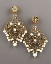 Jose & Maria Barrera | Metallic Crystal and Pearl Earrings | Lyst