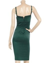 Just Cavalli | Green Stretch-satin Bustier Dress | Lyst