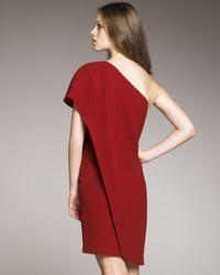 Badgley Mischka | Red One-shoulder Caftan Dress | Lyst