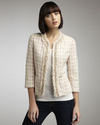 Neiman Marcus | Pink Bead-trim Tweed Jacket | Lyst
